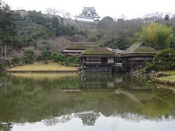 161226玄宮園④、臨池閣と彦根城 (コピー).JPG