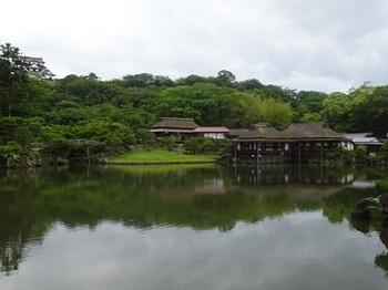 170528玄宮園02、臨池閣、鳳翔台と彦根城天守 (コピー).JPG