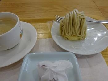 170901恵那川上屋本社恵那峡店⑤、夏山モンブランとコーヒーと栗きんとん(コピー).JPG
