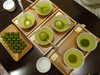 s_180417深緑茶房「お茶教室」④、6種類の煎茶.JPG