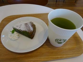 s_180419きみくらカフェ⑦、hot煎茶と抹茶のガトーショコラ.JPG