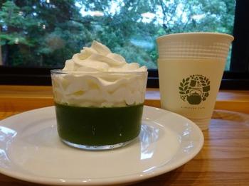 s_180920きみくらカフェ⑤、抹茶ゼリーとホット煎茶.JPG