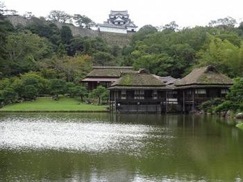 s_181001玄宮楽々園⑩、臨池閣・鳳翔台と彦根城天守.JPG