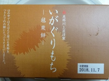 s_181107恵那川上屋いがぐりもち(毬栗餅)01、表面.JPG
